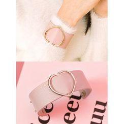 icecream12 - Heart Faux-Leather Bangle