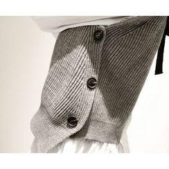 Marlangrouge - Set: Knit Vest + Ruffle-Hem Long Shirt