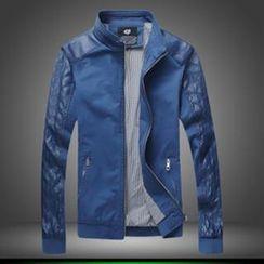 Alvicio - Faux Leather Panel Zip Jacket