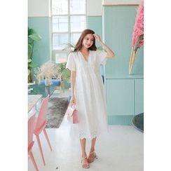 Cherryville - Short-Sleeve Eyelet-Lace Midi Dress