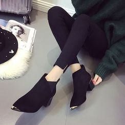 QQ Trend - Chunky Heel Tipped Ankle Boots