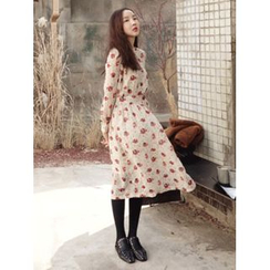 maybe-baby - Tie-Waist Floral Print Long Dress