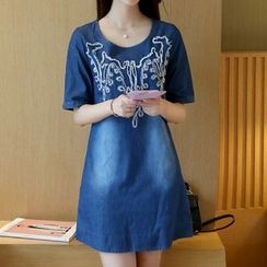 Cobogarden - Applique Short Sleeve Denim T-Shirt Dress