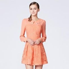 O.SA - Rhinestone Collar Lace-Panel A-Line Dress
