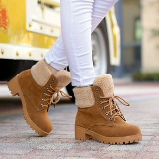 JY Shoes - Fleece-lined Lace Up Ankle Boots