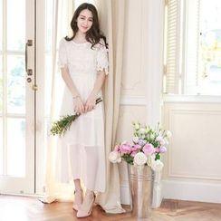 Tokyo Fashion - Lace Panel Short-Sleeve Maxi Chiffon Dress