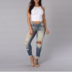 Charlotte - Washed Distressed Skinny Jeans