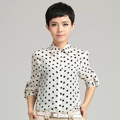 OnceFeel - Dotted Chiffon Shirt