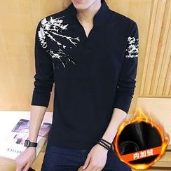 JORZ - Printed Stand Collar V-Neck Long-Sleeve T-Shirt