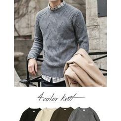 STYLEMAN - Round-Neck Cable-Knit Sweater