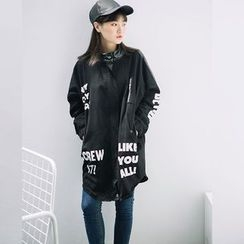 Emeline - Lettering Faux Leather Long Jacket