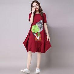Hummingbird - Printed Short Sleeve Midi Swing Dress