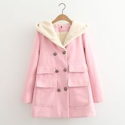 MAOMAO - Hooded Double-Breasted Coat