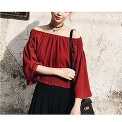 HazyDazy - Off-Shoulder 3/4 Sleeve Chiffon Top