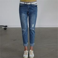CHICFOX - Distressed Washed Jeans