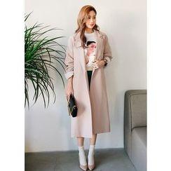 J-ANN - Notched-Lapel Faux-Pearl Button Long Jacket
