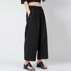 FASHION DIVA - Linen Blend Wide-Leg Pants