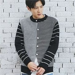 MITOSHOP - Round-Neck Striped Cardigan