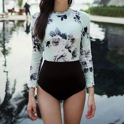 Blue Lagoon - Floral Print Long-Sleeve Swimsuit