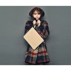 HOTPING - Hooded Checked Coat