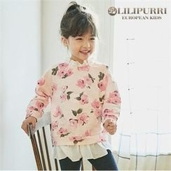 LILIPURRI - Girls Frill-Trim Flower Pattern Pullover