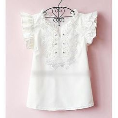 Munai - Frilled-Cuff Embroidered Chiffon Blouse