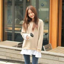Cherryville - Layered-Trim Fleece-Lined Sweatshirt