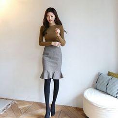 Hello sweety - Frill-Hem Houndstooth Skirt