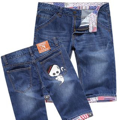 Kuziman - Skull Print Denim Shorts