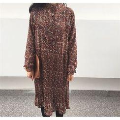 QZ Lady - Long-Sleeve Floral Pleated Midi Dress