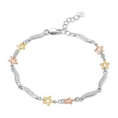 MaBelle - 14K/585 Tri-Color Gold Star with Wave Segment Bracelet