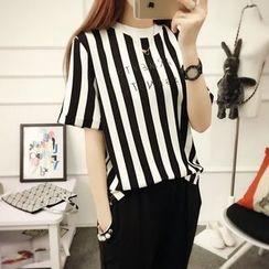 Fiori - Pinstriped Short-Sleeve T-shirt