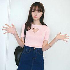 Wimi girls - Cutout Heart Short-Sleeve T-Shirt