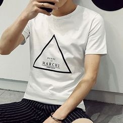 maxhomme - Letter Short-Sleeve T-shirt