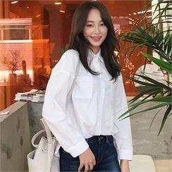 QNIGIRLS - Drop-Shoulder Dual-Pocket Shirt