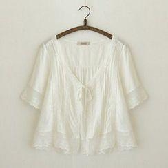 Meimei - Short-Sleeve V-Neck Lace Trim Blouse