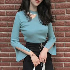 Anlay - Slim-Fit Cutout Round Neck Long-Sleeve Knit Top
