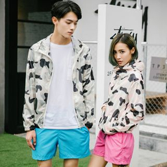 Evolu Fashion - Couple Matching Camouflage Hooded Windbreaker
