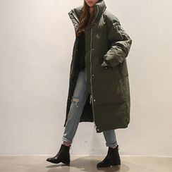 NANING9 - Funnel-Neck Long Padded Coat