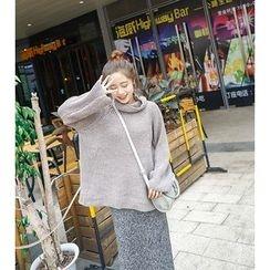 Whitney's Shop - Set: Plain Turtleneck Chunky Sweater + Melange Midi Skirt