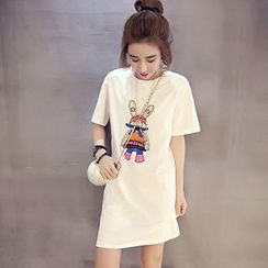 Ashlee - Short-Sleeve Print T-Shirt Dress