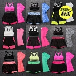 Girasol - Workout Set: Bra Top + T-Shirt + Shorts