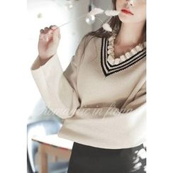 MyFiona - Frilled V-Neck Sweater