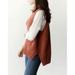 UPTOWNHOLIC - Dip-Back Wool Blend Vest