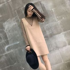 Poppy Love - 套装: 条纹长袖针织上衣 + 针织背心裙