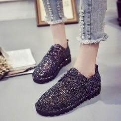 Micha - Glittered Lace Up Shoes