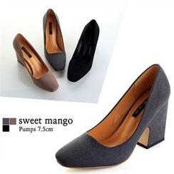 SWEET MANGO - Square-Toe Chunky-Heel Pumps
