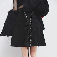Sonne - Corset Velvet A-Line Skirt