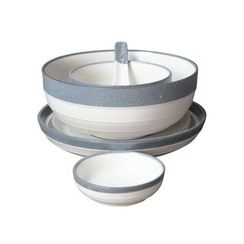 Rijushi - Set of 6: Contrast-Color Ceramic Bowl + Plate + Sauce Dish + Spoon