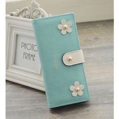 Bags 'n Sacks - Flower Applique Snap Button Long Wallet